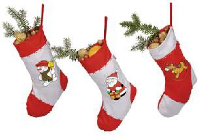 goki Weihnachtsstrümpfe Schaukelpferd, Schneemann, Weihnachtsmann